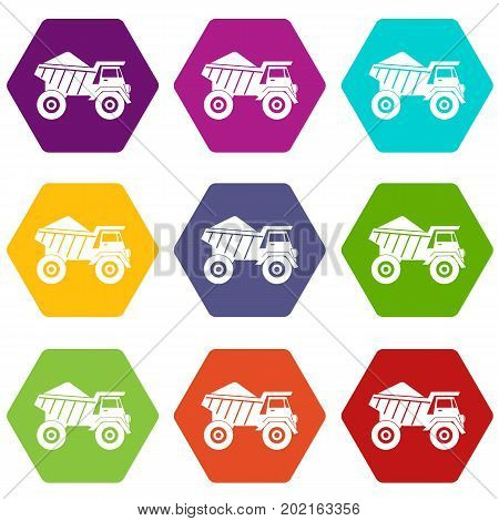 Dump truck with sand icon set many color hexahedron isolated on white vector illustration