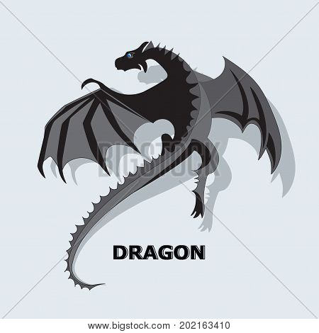 Flying dragon. Mythical animal. Design for printing on paper or textiles.