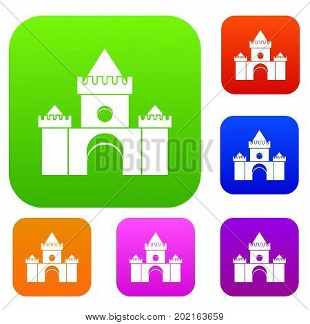 Fairytale castle set icon in different colors isolated vector illustration. Premium collection