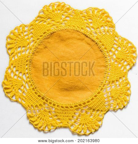 Yellow Handmade Lace Tablecloth Texture On White Background