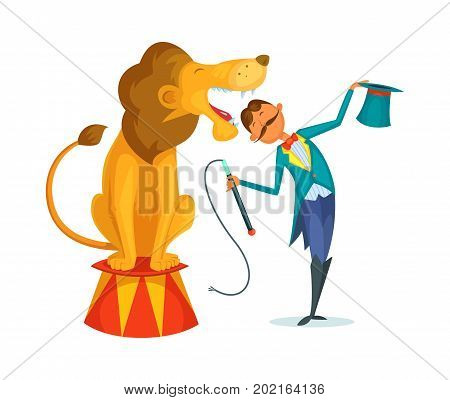 Circus trainer performs a trick along with a lion