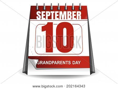 National Grandparents Day 2017. Desktop calendar with a festive date. 10 September. Vector illustration