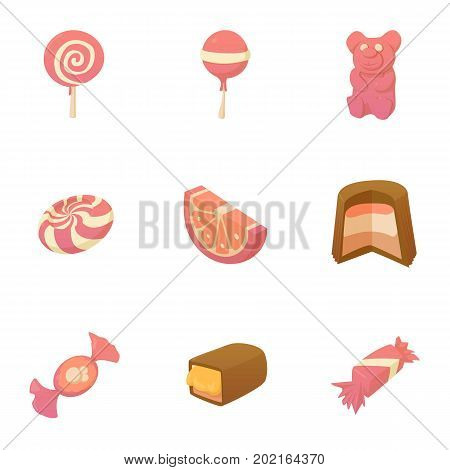 Kid candy icons set. Cartoon set of 9 kid candy vector icons for web isolated on white background