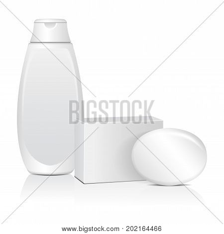Oval soap with white box adn cosmitic bottle. Realistic mockup package for your design