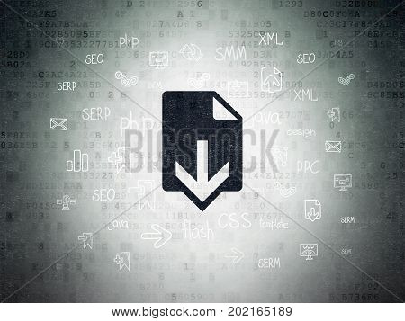 Web development concept: Painted black Download icon on Digital Data Paper background with  Hand Drawn Site Development Icons