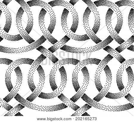 Seamless pattern of stippled ribbons Vector illustration.