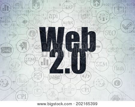 Web development concept: Painted black text Web 2.0 on Digital Data Paper background with  Scheme Of Hand Drawn Site Development Icons