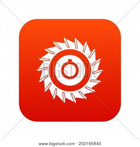 Circular saw disk icon digital red for any design isolated on white vector illustration