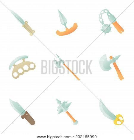 Steel arms icons set. Cartoon set of 9 steel arms vector icons for web isolated on white background