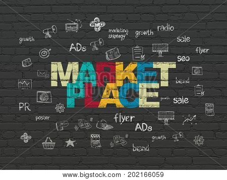 Marketing concept: Painted multicolor text Marketplace on Black Brick wall background with  Hand Drawn Marketing Icons