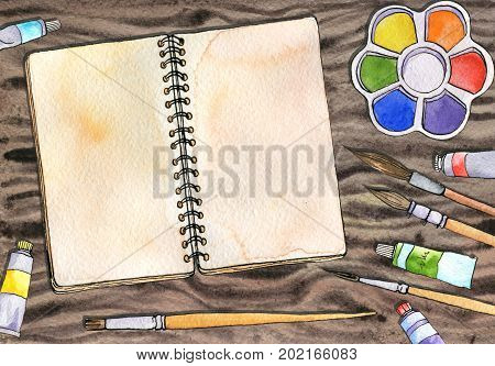 watercolor artistic workspace, hand drawn mock up, sketchbook and pencils at wood table, painting illustration