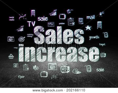 Marketing concept: Glowing text Sales Increase,  Hand Drawn Marketing Icons in grunge dark room with Dirty Floor, black background
