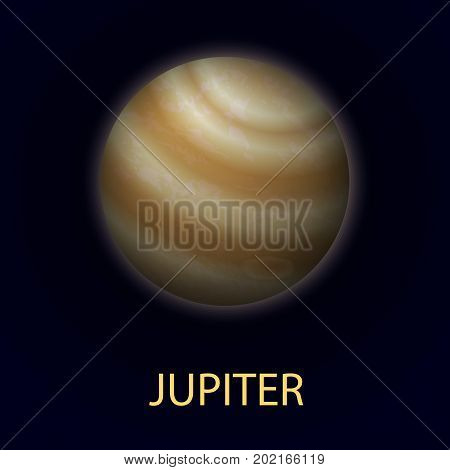 Jupiter. Giant realistic planet of the solar system. Fifth planet from the sun. Vector illustration on dark background.