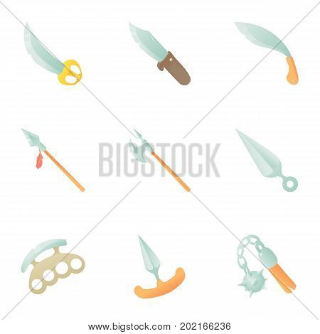 Sharp weapons icons set. Cartoon set of 9 sharp weapons vector icons for web isolated on white background