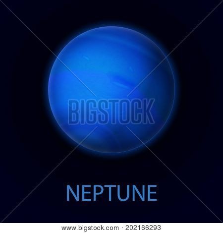 Neptune. Realistic planet of the solar system. Gas giant. Eighth planet from the sun. Vector illustration on dark background.