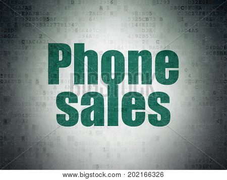 Marketing concept: Painted green word Phone Sales on Digital Data Paper background