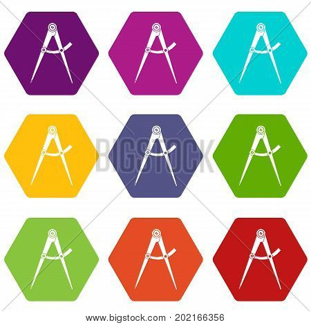 Compass tool icon set many color hexahedron isolated on white vector illustration