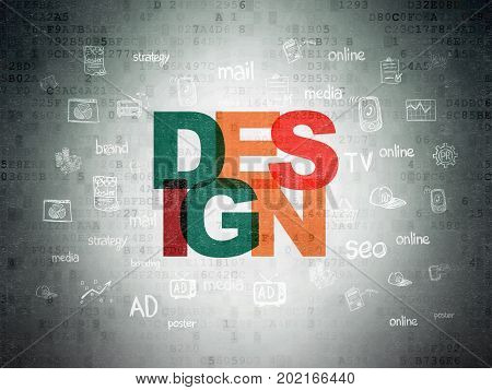 Advertising concept: Painted multicolor text Design on Digital Data Paper background with  Hand Drawn Marketing Icons