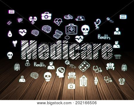 Healthcare concept: Glowing text Medicare,  Hand Drawn Medicine Icons in grunge dark room with Wooden Floor, black background