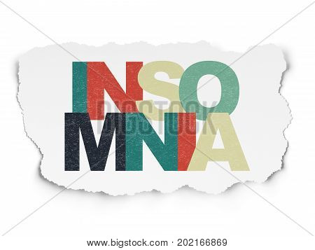 Healthcare concept: Painted multicolor text Insomnia on Torn Paper background
