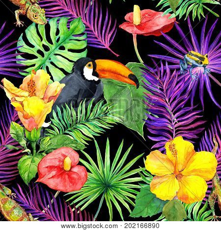 Tropical leaves, exotic flowers, toucan bird and gecko. Seamless wallpaper. Watercolor pattern