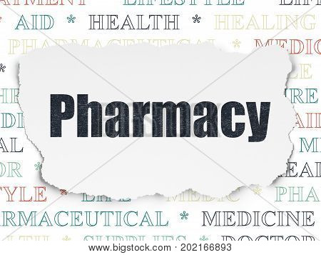 Health concept: Painted black text Pharmacy on Torn Paper background with  Tag Cloud