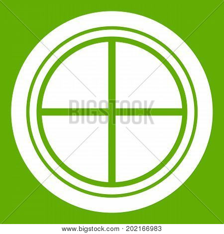 White round window icon white isolated on green background. Vector illustration