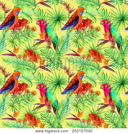 Bright parrot birds, tropical tree and jungle exotic flowers - bird of paradise flower, orchid. Seamless pattern. Watercolor