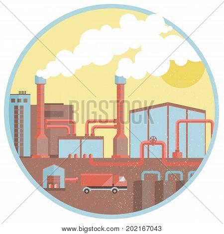 Chemical industrial pipes factory background with buildings chimneys truck tubes smoke in circle isolated vector illustration