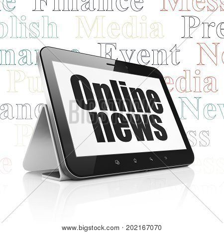 News concept: Tablet Computer with  black text Online News on display,  Tag Cloud background, 3D rendering