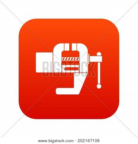 Vise tool icon digital red for any design isolated on white vector illustration