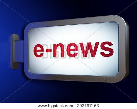 News concept: E-news on advertising billboard background, 3D rendering