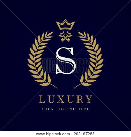 Laurel elegant beautiful round identity with crown and key. Vector letter emblem S for Royalty, Restaurant, Boutique, Hotel, Heraldic, Jewelry