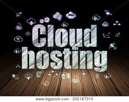 Cloud computing concept: Glowing text Cloud Hosting,  Hand Drawn Cloud Technology Icons in grunge dark room with Wooden Floor, black background