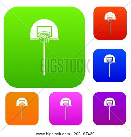 Street basketball hoop set icon in different colors isolated vector illustration. Premium collection