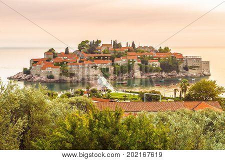 Saint Stefan, Montenegro - August 26, 2017; The island of St. Stephen( Sveti Stefan ) near Budva in Montenegro is a state in southeastern Europe in the Balkans.