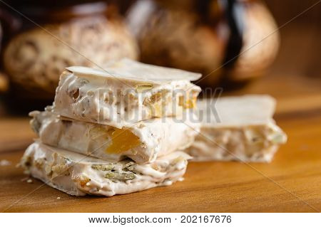 Homemade Nougat With Nuts, Seeds And Candied Fruits