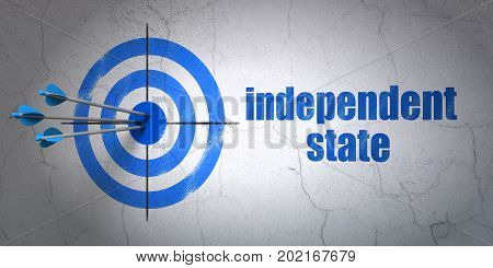 Success politics concept: arrows hitting the center of target, Blue Independent State on wall background, 3D rendering