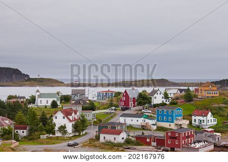 Historic Trinity NL Canada AUG 26 2014: Historic outport village of Trinity on Atlantic ocean coast of Bonavista Peninsula on AUG 26 2014 Trinity Newfoundland NL Canada
