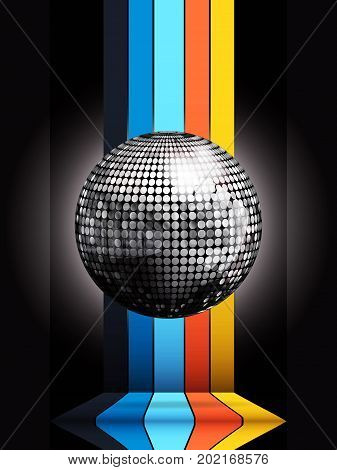 3D Illustration of Silver Disco Ball on Multicoloured Stripes Structure Over Black Background
