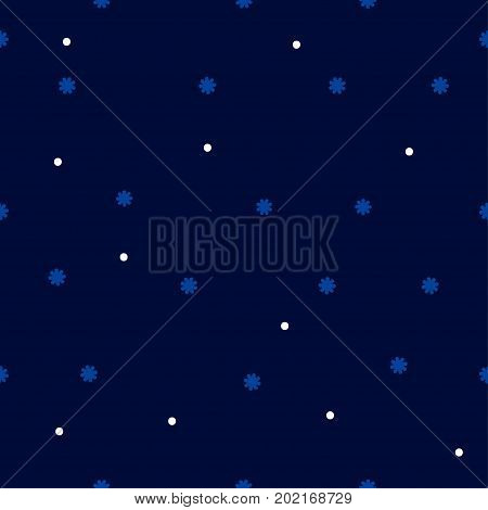Cute blue night seamless winter pattern with tiny flakes snowflakes. Wrapping for paper textiles fabric print. Abstract christmas snow background. Vector illustrate.