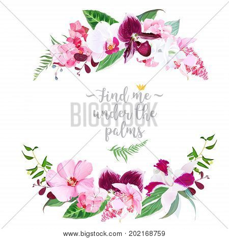 Exotic tropical round floral frame arranged from white layered and pink hibiscus, medinilla, plum colored paphiopedilum orchid, hydrangea vector design set. All elements are isolated and editable.