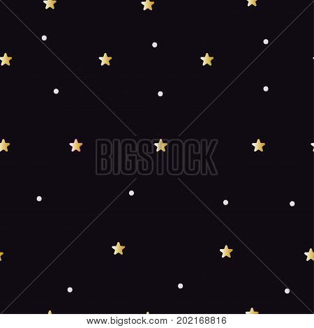Tiny golden stars on black sky - baby seamless pattern. Kids black abstract background for wrapping fabric print textiles. Vector illustration