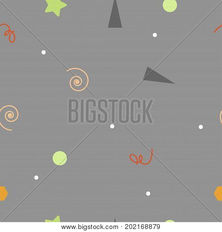 Seamless gray birthday pattern. Abstract holiday background for wrapping print textile fabric. Cute pattern with confetti. Vector illustration
