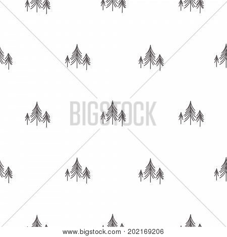 Scandinavian simple forest tree on white vector seamless pattern. Modern design for textile fabric, wrap paper, prints.