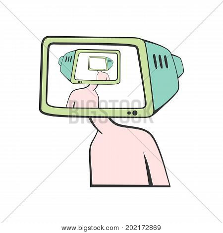 A Cartoon man with a TV instead of a head. Brainwashing. Vector illustration.