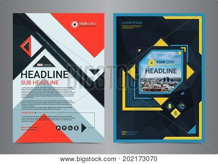 Multipurpose business flyer layout design with geometric shapes. Business design layout template Modern Backgrounds. Vector illustration.