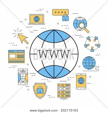 Vector linear round concept of world wide web - internet. Isolated illustration with outline icons in blue and yellow colors. Square web banner