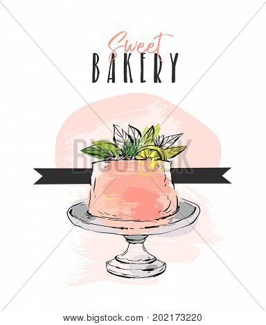 Hand drawn vector abstract unusual Sweet bakery card template with cake stand design, flowers, lemon and modern calligraphy Sweet Bakery in peach color isolated on white background.