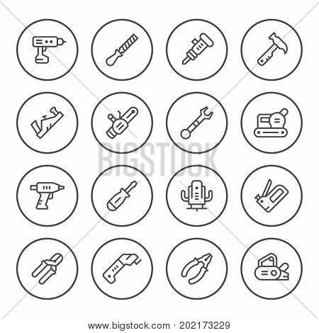 Set round line icons of electric and hand tool isolated on white. Vector illustration